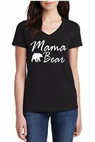 V-neck Ladies Mama Bear #4 Shirt Mother's Day Gift Idea Funny Women Mothers Tee