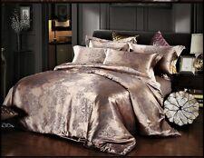 Luxury 4pc.Lavender Purple Jacquard Satin Queen Size Cotton Duvet Bedding Set