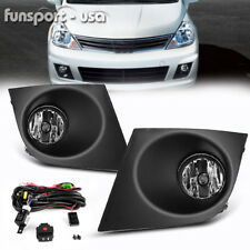 for 2007-2011 Nissan Versa Clear Fog Lights Front Bumper Lamp+Wiring+Switch PAIR