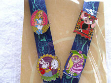 Disney * ALICE in WONDERLAND * Deluxe 4 pin Starter Set w/ Lanyard & Card