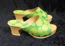 Womens Jones the Bootmaker Green and Yellow Mules Sandals  Size EU 37 UK 4