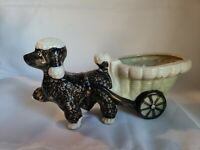 VINTAGE SHEFFORD HAND DECORATED POODLE DOG WITH CART PLANTER