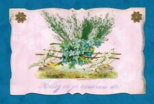 1907 PRETTY HANDMADE FRENCH POSTCARD FOR VALENTINE? LOVED ONE - DOVES