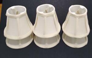 "6 Fabric Lamp Shade Eggshell 4 1/2"" Mini Drum Clip On 6 Pcs"