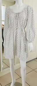 As New! BEC & BRIDGE Dress 10 White with Black Spots Waist Neck Ties Long Sleeve