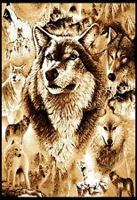 """New Wolf Family Area Rug 4x6 Beige Wolves Carpet - Actual 3' 7"""" x 5' 3"""""""