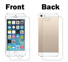 100% Genuine Front+Back Tempered Glass Screen Protector Film For iPhone 5 5S SE