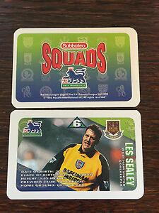 Subbuteo Squads 1996 Trading Card: West Ham United - LES SEALEY