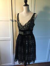Plenty by Tracy Reese Black & White Lace velvet trim Dress Size 8