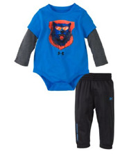 NEW Under Armour Illustrated Bear Bodysuit and Pants Set for Babies 3/6M