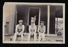 Old Antique Vintage Photograph Three Men in Great Outfits Sitting on Porch Steps
