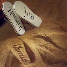 White Just Married Sandals Medium For Her Honeymoon Bride Gift Weddingstar