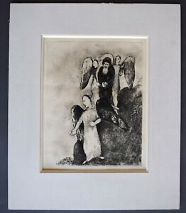 MARC CHAGALL Abraham with three angels  Plate 8 from BIBLE, 1956 ETCHING