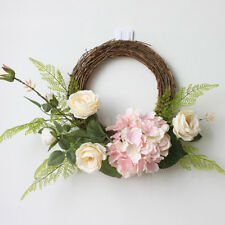 Vintage Rattan Silk Rose Hydrangea Flower Door Wreath Garland Ring 12 Inch