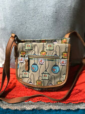Fossil Beige Multi-Color Bird Cage Canvas Leather Zip Credit Card Crossbody