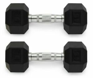🏋15 lb x 2 WEIDER Hex Rubber Coated Pair Of Dumbbell Weights 30 LBS Total NEW!