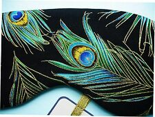 Eye Sleep Mask Peacock Feather Cotton Travel, Spa Blackout Relax UK Made Gift