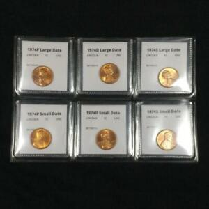 1974 P+D+S Lincoln Cent Six Coin Small and Large Date Penny Set - BU