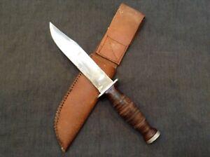 vintage KA-BAR Olean NY fixed blade knife with sheath