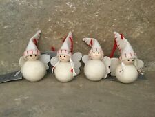 Gisela Graham Christmas cute cream felt and wood boy girl angels set of 4