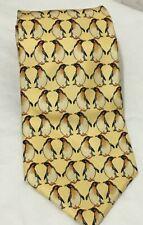 Beaufort Tie Rack Necktie Yellow Penguins Silk Italy NWT 57 x 3.75