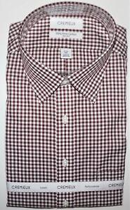 Daniel Cremieux Dress Shirt 17.5 - 34 Burgundy Gingham Check Pima Cotton NWT
