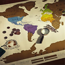 New Personalized Scratch Off World Map Poster Traveler Travel Vacation Log Gift