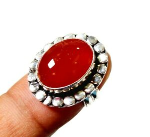 Red Onyx Gemstone Gift Ring Size US 8 Silver Plated Handmade Jewellery