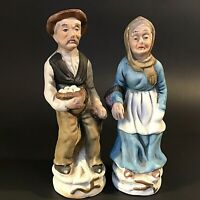 """OLD MAN & WOMAN FIGURINES SET OF 2 HAND PAINTED COLLECTING EGGS 7 1/2"""" VINTAGE"""