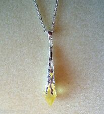 "Pretty Lemon Yellow Faceted Teardrop Silver Filigree Pendant 21"" Chain Necklace"