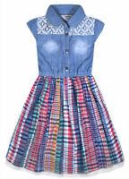 Girls Summer Dress Kids New Denim Top Check Skirt Ages 2 3 4 5 6 7 8 9 10 Years