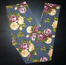 NWT Buttery SOFT Gray Floral Leggings One Size S M L Yellow Flowers Roses OS