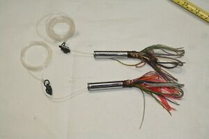 Lot of 2 Squid Fishing Lures Made with Weatherby Rifle Shells Muskie Deep Sea