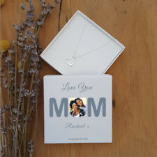 MUM Photo Upload Silver Heart Pendant Chain Necklace Personalised Gift Box