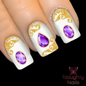 TANZANITE GEMSTONE Purple Nail Water Transfer Decal Sticker Art Tattoo