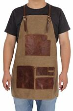 Canvas Leather welding Tool Chef Kitchen Bib Apron With Pockets Professional ...