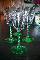 Set Of 4 Tiffin Depression Glass Herringbone Optic Bowl Green Stem Wine Glasses
