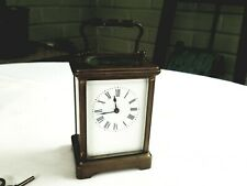 """OLD DIETTE HOUR FRENCH GLASS CASED BRASS CARRIAGE CLOCK,RUNS,4"""""""
