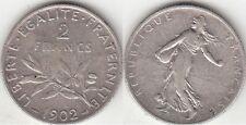 Monnaie 2 francs Semeuse argent 1902