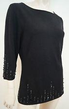TSE Black Silk & Cashmere Sequin Detail Scoop Neck Jumper Sweater Top Sz:XL