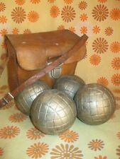 Lot x4 Anciennes BOULES LYONNAISES + SACOCHE en CUIR Sport Boule Pétanque Sac