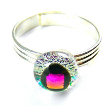 """Adjustable Ring Dichroic Glass Tiny 1/4"""" 7mm Magenta Pink Fuchsia Dot Clear Opal"""