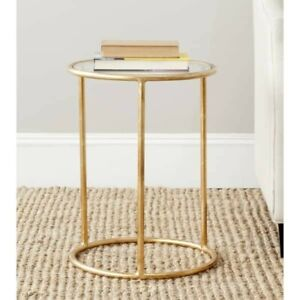 """Safavieh Treasures Shay Gold/ Glass Top Accent Table - 15"""" x 15"""" x 19.7"""""""