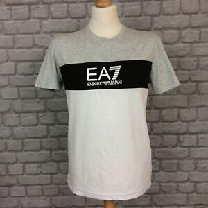 EA7 EMPORIO ARMANI MENS WHITE GREY COLOUR BLOCK T-SHIRT TEE SHORT SLEEVE AD