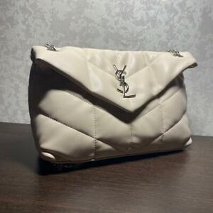 Authentic Saint Laurent honey Loulou shoulder bag dark latte.