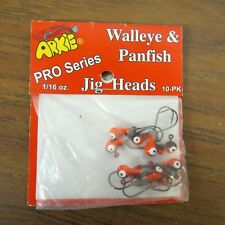 + JIG HEADS, WALLEYE & PANFISH, (10) 1/16 OZ., ORANGE, ARKIE LURES