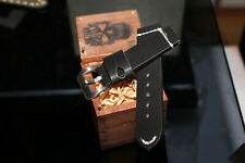 Handmade 24mm Thick BLACK Cowhide Vegetable Tanned Leather Watch Strap