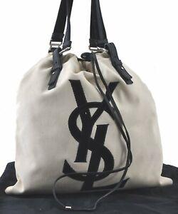Authentic YVES SAINT LAURENT KAHARA Shoulder Tote Bag Canvas Leather Ivory E2749