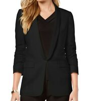 Tahari by ASL Women's Jacket Black Size 2 Ruched Sleeve Lapel Pockets $139 #367