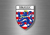 Sticker decal souvenir car coat of arms shield city flag belgium bruges